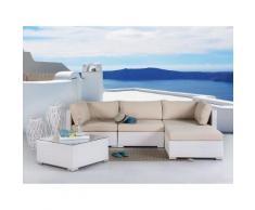 Lounge Set Rattan weiss 4-Sitzer Auflagen karamell SANO
