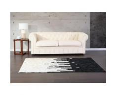 Teppich schwarz-beige 160 x 230 cm Leder BOLU