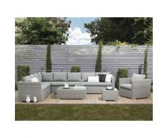 Lounge Set Rattan grau 8-Sitzer Auflagen grau XXL