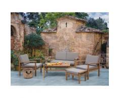 Lounge Set Holz braun 4-Sitzer Auflagen grau MANILA