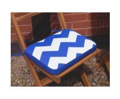 Auflage für Gartenstuhl FIJI blaues Zickzack Muster 29 x 38 x 5 cm