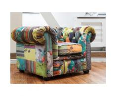 Sessel Polsterbezug Patchwork gelb CHESTERFIELD