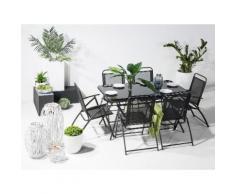 Gartentisch Stahl schwarz 140 x 80 cm LIVO