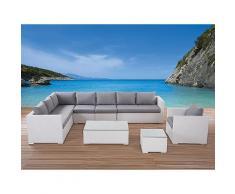 Lounge Set Rattan weiss 8-Sitzer Auflagen grau XXL