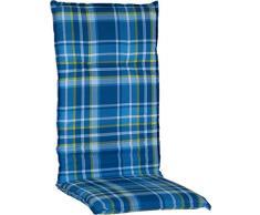 Gartenmöbel Auflage für Hochlehner 118x50cm 6cm Dick in karo blau grüne Linien