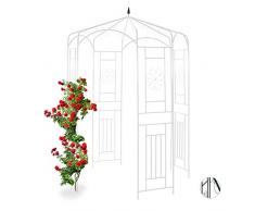 Relaxdays Rosenpavillon Metall, Rankhilfe für Kletterpflanzen, Garten, dekorativer Rankpavillon, HBT 250x160x160cm, weiß