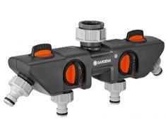 GARDENA 4-Wege-Verteiler: Anschlussmöglichkeit für bis zu 4 Geräte an den Wasserhahn, passend zu GARDENA Bewässerungscomputern & -uhren, Wasserdurchfluss regulier- und absperrbar (8194-20)