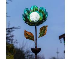 Festliche Lichter, drehbarer Kaleidoskoppf, solarbetrieben, Außenlampe, wasserfest, Gartenbeleuchtung (Blume), Blau