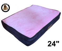 Ellie-Bo Käfig 61 cm Hund oder Box klein 56 cms x 41 cms Hundebett braun Cord Seiten und rosa Kunstfell Topping