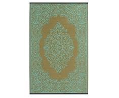 Fab Hab - Istanbul - Hellblau & Bronze - Teppich/ Matte für den Innen- und Außenbereich (90 cm x 150 cm)