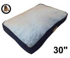 Ellie-Bo Hundebett für Käfig oder Transportbox, 76,2 cm, Medium, 71 cm x 48 cm, Seiten aus Cord Blau, Oberseite aus Kunstfell Grau