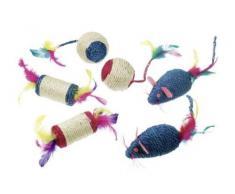 Sisal Spielbälle mit Feder und Rassel L: 6 cm farblich sortiert