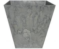 Artstone Pflanzgefäß Pflanzkübel Ella, frostbeständig und leichtgewichtig, Grau, 15x15cm