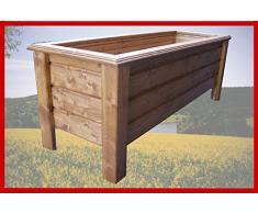 SchwibboLa Pflanzkasten Hochwertiger Classic lasiert Teak Außenmaße 110 x 40 x 26 cm Blumenkasten Hochbeet Pflanztrog Nr. PK-76-A2, Holz