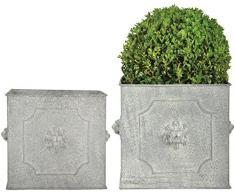 Esschert Design AM Löwe Blumentopf 2er Set, quadratisch, groß 24 cm/klein 20 cm, Aged Metall, antikes Design