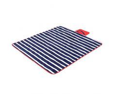 Yello Fleece faltbar Outdoor Picknickdecke Wasserdichte Unterseite – Blau gestreift