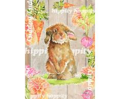 Toland Home Garden 1112293 Hippity Hoppity Floppity 31,5x45,7 cm Dekorative Frühlingsflagge Osterhase Garten Fahne