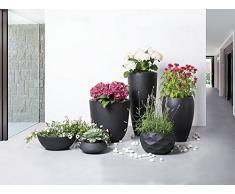 Iseo Übertopf, Gartenzubehör, 23 x 23 x 13 cm, Schwarz
