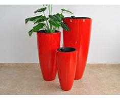 Pflanzkübel Blumenkübel Blumentopf Fiberglas rund konisch D30xH60cm hochglanz rot.