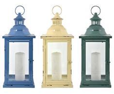 Esschert Design Laterne in 3 Farben L aus Eisen und Glas, 20,3 x 20,3 x 48,3 cm