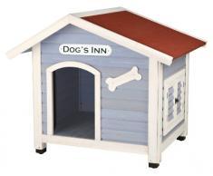 Trixie 39513 natura Hundehütte Dogs Inn mit Satteldach, M-L: 107 × 93 × 90 cm, hellblau/weiß