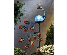 ABC Home Garden Pfau Solarleuchte Gartenstecker LED Solarbetrieben EIN-& Ausschalter Lichtsensor, Blau, 37x7x90 cm