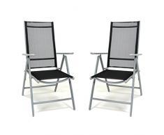 Nexos SC00060_SL2_JM 2er Set Klappstuhl schwarz Aluminium 7-Fach-verstellbar Gartenstuhl mit Armlehne witterungsbeständig stabil leicht Hochlehner Rahmen Silber Terrasse Balkon,
