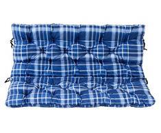 Ambientehome 2er Bank Sitzkissen und Rückenkissen Hanko, kariert blau, ca 120 x 98 x 8 cm, Bankauflage, Polsterauflage