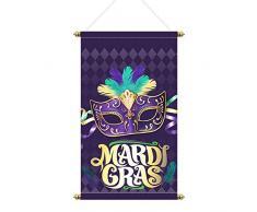 Aneco Mardi Gras Türbanner Hausflagge Maske Perlen Deko Karneval Gras Garten Fahne Maske Willkommen Banner für Innen Außen Masquerade Party Dekoration