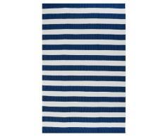FAB HAB Hab - Nantucket - blau/weiß Teppich aus recyceltem PET (Polyestergarn) für den Innen- / Außenbereich (60 cm x 90 cm)