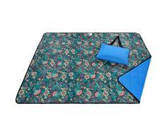 Roebury Outdoor Picknickdecke für die Ganze Familie 140 x 180 cm - Wärmeisoliert & Wasserdicht mit Tragegriff. Campingdecke Stranddecke Reisedecke für Jeden Untergrund (Blau)