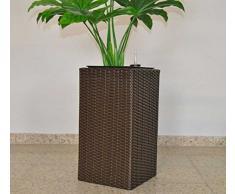 Blumenkübel Pflanzkübel Blumentopf Übertopf Polyrattan Säule LxBxH 30x30x80cm braun