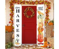 Aneco Herbsternte Dekoration Happy Fall Veranda Schild Banner Ernte Ernte Thanksgiving, Hängende Fahne für Herbst Party Supplies oder Hof, Indoor Outdoor Decor Farbe A