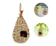Relaxdays Vogelnest, zum Aufhängen, Deko Balkon, Terrasse, Garten, geflochten, Vogelhaus Stroh, HxD 29 x 12 cm, Natur