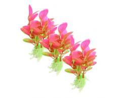 uxcell Kunstpflanze für Aquarien, Kunststoff, 10,9 cm, Grün/Magenta, 3-teilig