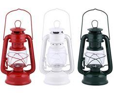 Esschert Design WL57 Windlicht Eisen/Glas, 3-Fach Sortiert Farben: Rot, Weiß, Grün