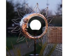 Festliche Lichter, drehbarer Kaleidoskoppf, solarbetrieben, Außenleuchte, wasserdicht, Gartenbeleuchtung (Sonne und Mond), silberfarben