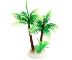 uxcell Kunstpflanze für Aquarien, Kokosnussbaum, Keramiksockel, Kunststoff