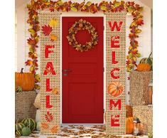 Aneco Herbsternte Dekoration Happy Fall Veranda Schild Banner Ernte Ernte Thanksgiving, Hängende Fahne für Herbst Party Supplies oder Hof, Indoor Outdoor Decor Farbe B