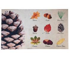 Esschert Design Türmatte Baumsammlung aus Polyester/Kunststoff, 75 x 45,4 x 0,3 cm, Aufdruck von 9 verschied. Baumarten, Türvorleger, Fußabstreifer