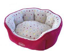 Nobby 60656 Komfort Bett oval Spot, hellgrau-pink, 45 x 40 x 19 cm