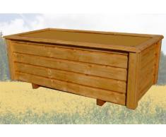 SchwibboLa Pflanzkasten Hochwertiger ClassiV lasiert Teak Außenmaße 120 x 60 x 40 cm Blumenkasten Hochbeet Pflanztrog Nr. PK-502-A7, Holz