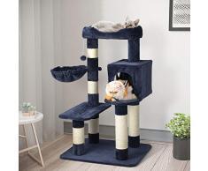 Katzenkletterbaum, Katzenbaum mit Spielhaus, Liegefläche und Hängematte - mit Plüsch - inklusive Röhren aus Sisal - Katzenkratzbaum für Katzen auf 3 Etagen - Robuste Fertigung aus Holz (blau)