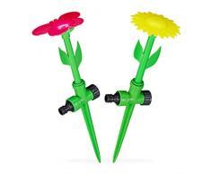 Relaxdays, rot/gelb Sprinkler Blume, 2er Set, Spritzblume Garten, Rasensprenger Kinder, mit Erdspieß, HxD: 34 x 10 cm, Pack