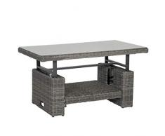 greemotion Tisch Bari, höhenverstellbarer Couchtisch, Beistelltisch aus Rattan-Geflecht mit Glas-Tischplatte, Sofatisch ca. 130 x 49/68 x 75 cm