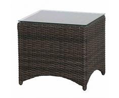 Siena Garden Beistelltisch Porto, 49x49x45,5cm, Gestell: Aluminium, pulverbeschichtet, Fläche: Gardino-Geflecht in grau,Tischplatte: Glas