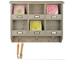 Esschert Design Wandorganizer, 57 x 12 x 47 cm, aus Holz, mit 6 Stellplätzen, Größe L, mit Sicherungsbrett, Blumenkasten, Holzkasten