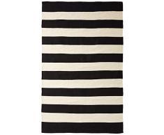 FAB HAB Hab - Nantucket - schwarz/weiß Teppich aus recyceltem PET (Polyestergarn) für den Innen- / Außenbereich (60 cm x 90 cm)