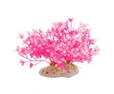 sourcingmap Kunstpflanze für Aquarien, klein, Hot Pink/Weiß