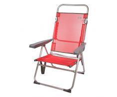 Aktive 53972 Stuhl mit mehreren Positionen, Aluminium, Beach, 50 x 64 x 100 cm, Rot